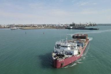 Судно-контейнеровоз «Барыс» Казмортрансфлота вышло в свой первый рейс