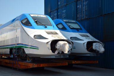 В Петербурге перегрузили высокоскоростной поезд для Узбекистана