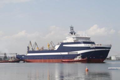 В Керчи спустили на воду кабельное судно «Волга» проекта 15310