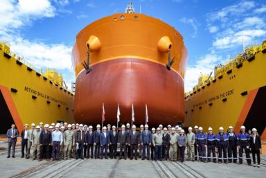 На ССК «Звезда» спустили второй танкер типа «Афрамакс»